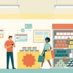 Ilustración de gente en una tienda